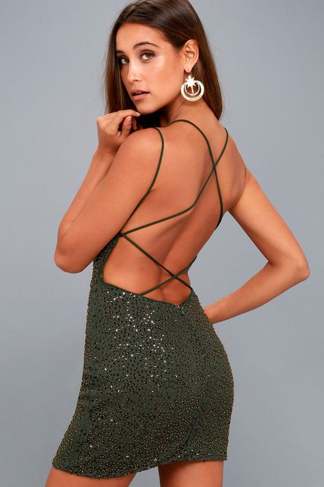 a4b5a6cd40 Nimah Olive Green Beaded Backless Dress in 2018