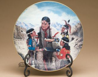 Native America Collector Plate u0026 Stand from the Proud Indian Families Collection - The Storyteller & Native America Collector Plate u0026 Stand from the Proud Indian ...