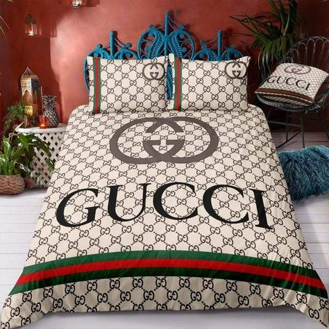 If you're a Gucci lover, you've found your new Gucci bed set! Gucci Bedding, Duvet Bedding Sets, Comforters, Luxury Bedding, Designer Bed Sheets, Teen Girl Bedding, College Dorm Bedding, College Room, Custom Shower Curtains