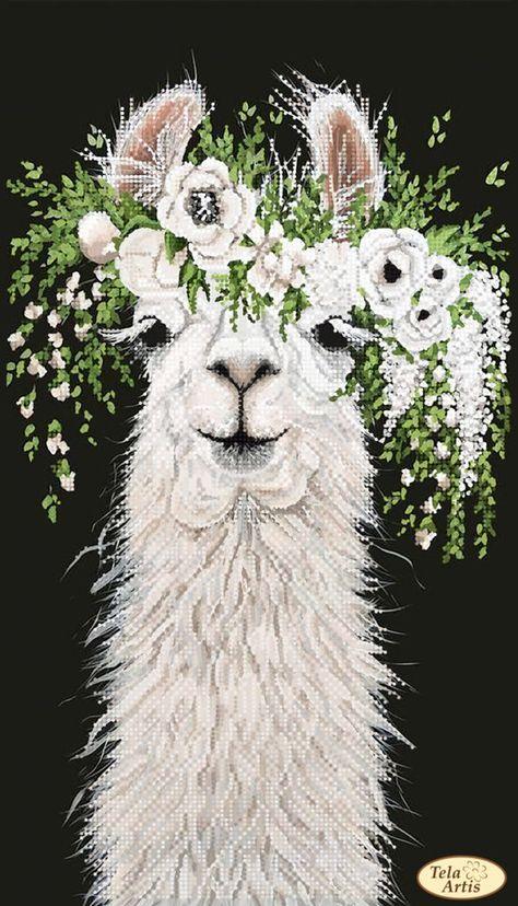 Bead Embroidery kit Llama in a wreath Needlework Kit Beadwork   Etsy