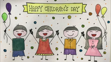Children S Day Chart Idea Easy Drawing Youtube Children Day