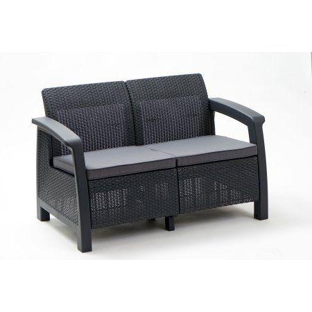 Keter Bahamas Loveseat Resin Outdoor Patio Furniture Grey Gray