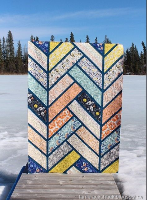 This is Terry's Broken Herringbone quilt and the pattern is by Violet Craft. … This is Terry's Broken Herringbone quilt and the pattern is by Violet. Quilting Projects, Quilting Designs, Quilting Ideas, Sewing Projects, Quilt Design, Design Design, Sewing Ideas, Herringbone Quilt, Chevrons
