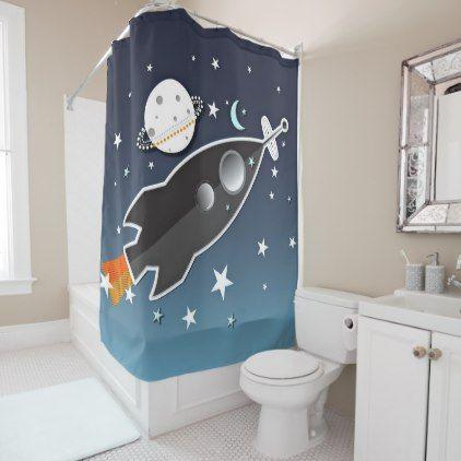 Rocket Ship Spaceship Blue And Orange Whimsical Shower Curtain