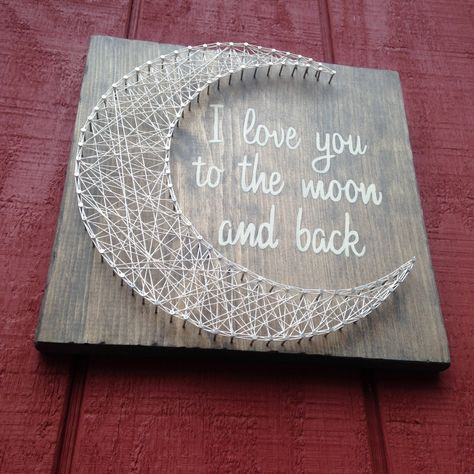 These I love you to the moon and back signs are hand painted and hand strung with string on weathered wooden boards. The dimensions are approximately 11 by 11 inches. Due to the nature of the wood, each piece is unique and may vary from what you see in the picture but we feel that this makes each order a real one of a kind. These come with sawtooth hanger so they are ready to hang. If you would like to order a larger board please contact me and we can set something up. Items usually take 1-2 ...