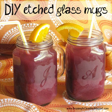 DIY etched glass mugs: (How to Etch Glass Tutorial)