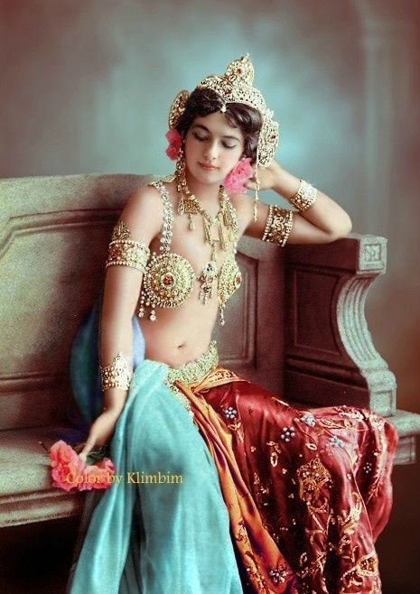 Mata Hari in the 1900s. This photo was colorized after