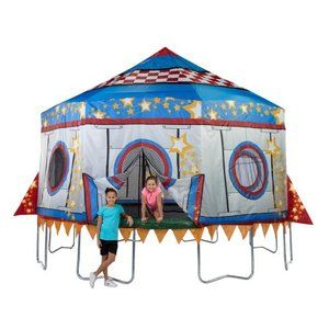 JumpPod 15 ft Round Tr&oline w/enclosure and detachable tree house tent | Hana | Pinterest | House tent Tr&olines and Tr&oline tent  sc 1 st  Pinterest & JumpPod 15 ft Round Trampoline w/enclosure and detachable tree ...