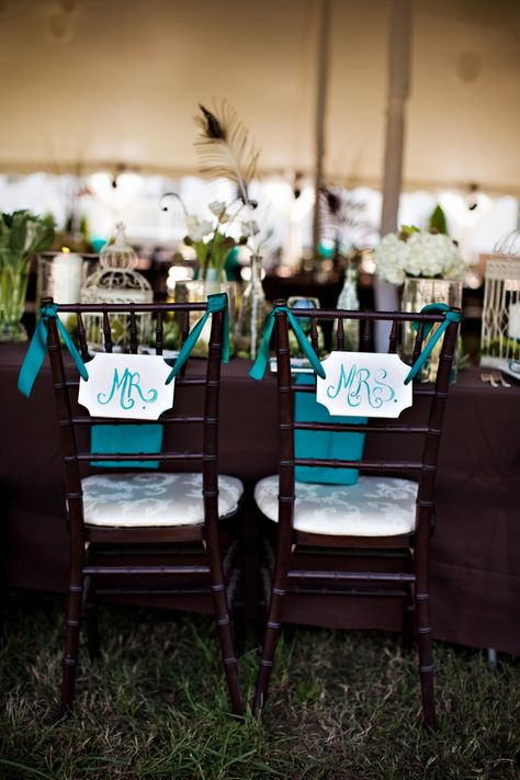 teal vintage handmade mr and mrs chair decor, vintage reception decor, mahogany chivari chairs