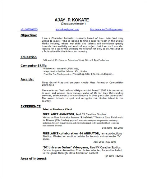 resume format 3d animator  resume format download resume