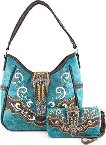 Justin West Concealed Carry Western Tritone Buckle Longhorn Star Handbag Purse