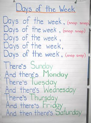 of the Week - adams family song. Loved doing this with my kids during student teaching.Days of the Week - adams family song. Loved doing this with my kids during student teaching. Kindergarten Songs, Preschool Music, Preschool Lessons, Preschool Learning, Kindergarten Classroom, Preschool Activities, Days Of The Week Activities, Preschool Transitions, Therapy Activities