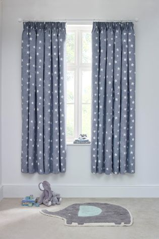 Buy Little Star Black Out Pencil Pleat Curtains From The Next Uk Online Shop Baby Room Curtains Boys Bedroom Curtains Nursery Curtains