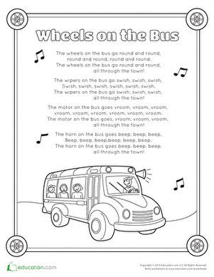 Wheels On The Bus Song Worksheet Education Com Wheels On The Bus Transportation Preschool Preschool Songs