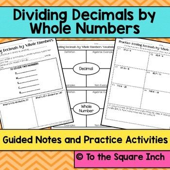 dividing decimals by whole numbers guided notes and activities  dividing decimals by whole numbers guided notes and activities common core  standard nsbeverything you need to introduce and