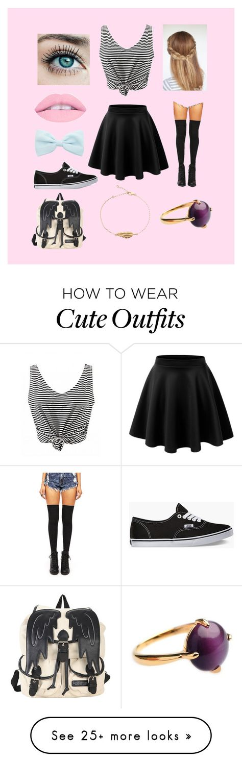 """""""School outfit"""" by samanthagrace9898 on Polyvore featuring Vans and LE3NO"""