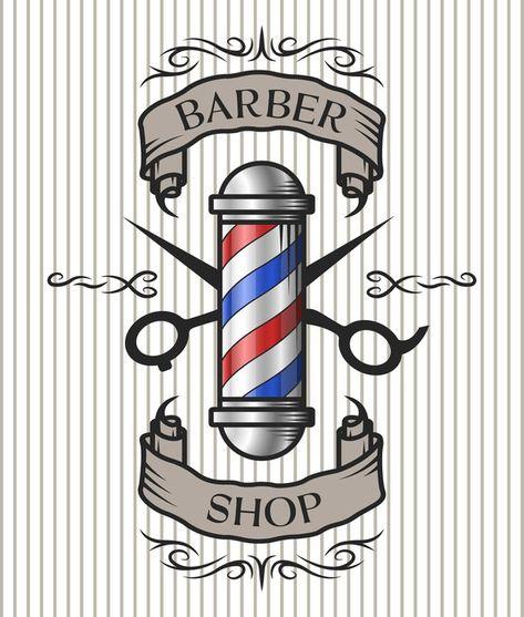 Barber shop emblem. Vinyl Wall Mural - Signs and Symbols