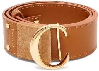 Monogram Buckle Leather Belt Chloe Matchesfashion Us Leder Ledergurtel Gurtel