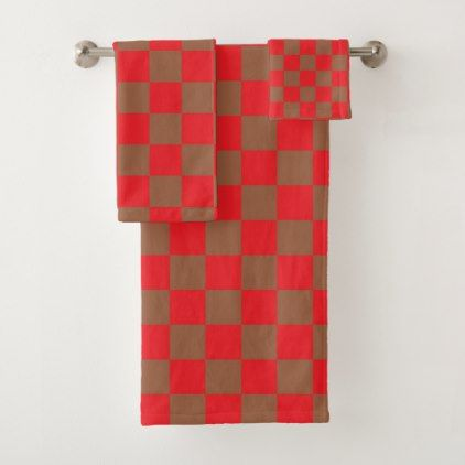 Checkered Red And Brown Bath Towel Set Zazzle Com Brown Bath