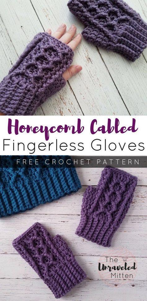 Honeycomb Cabled Fingerless Gloves Free Crochet Pattern The Unraveled Mitten Fingerless Gloves Crochet Pattern Crochet Gloves Pattern Crochet Mittens Pattern