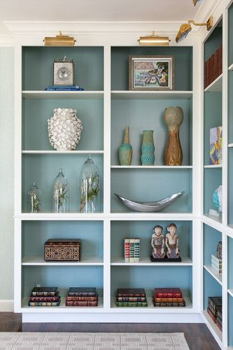 Blue-painted bookshelves - Melodie Rubin of House of Ruby Interior Design at The 2013 PVI Decorator Show House in Woodside, CA