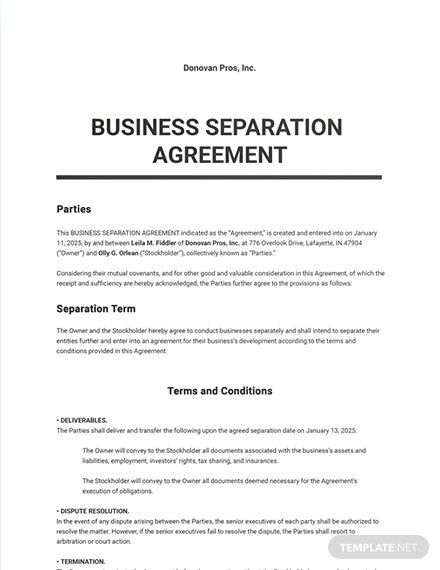 24 Free Small Business Agreement Templates Edit Download Template Net Separation Agreement Template Separation Agreement Rental Agreement Templates
