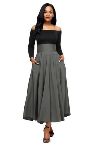 7494f144cc951a Jupe Longue Taille Haute Plisse Retro Grise Poche Ceinture   Clothes ...