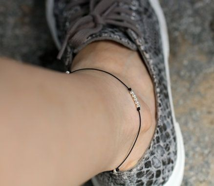 Black Waxed Cord anklet,It is fashionable for both men and women.