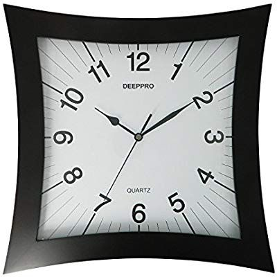 Deeppro Silent Wall Clock Solid Wood 14 Inches Square Non Ticking Digital Quiet Sweep Decorative Vintage Wooden Clocks Dark Brow Wooden Clock Clock Wall Clock