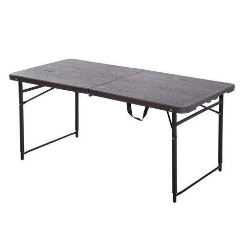 Outsunny 1 2 M Exterieur Table De Camping Pliante A Hauteur Reglable