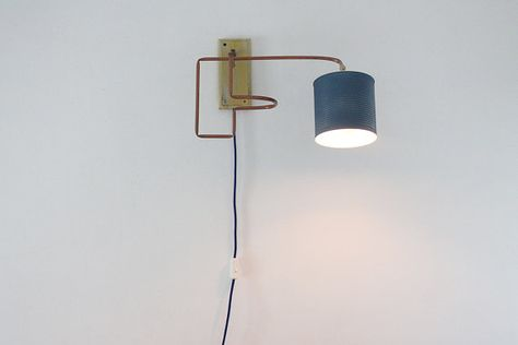 Wall lamp in copper wood and metal tin can. wall sconce. industrial