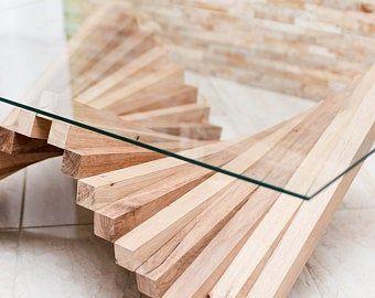 Table Basse En Bois Massif Plateau En Verre Rectangulaire Design Original Brut Scandinave Industriel Wood Table Coffee Table Glass Gorgona Wood Lamps Wood Coffee Table Wood