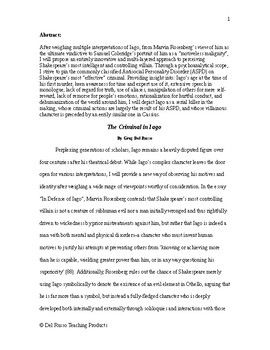 The Criminal In Iago Original Published Essay Research Paper Example Ap Language And Composition Ap Language 10th Grade English Lessons