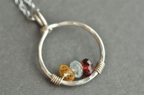 CIRCLE OF LOVE custom genuine mother's birthstone necklace - by Mu-Yin Jewelry
