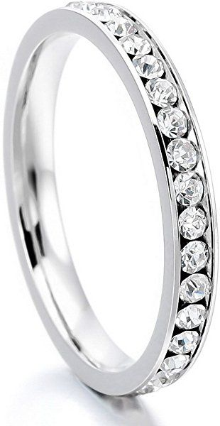 09880a9d75b28 INBLUE Women's Stainless Steel Eternity Ring Band CZ White Wedding ...