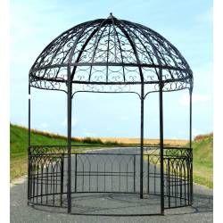 Grande Tonnelle Kiosque De Jardin Pergola Abris Rond Gloriette En Fer Forge Marron 250x250x290cm Cenador