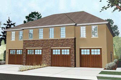 Plan 62543dj Winsome Fourplex In 2021 Unique House Plans Basement House Plans Architectural Design House Plans