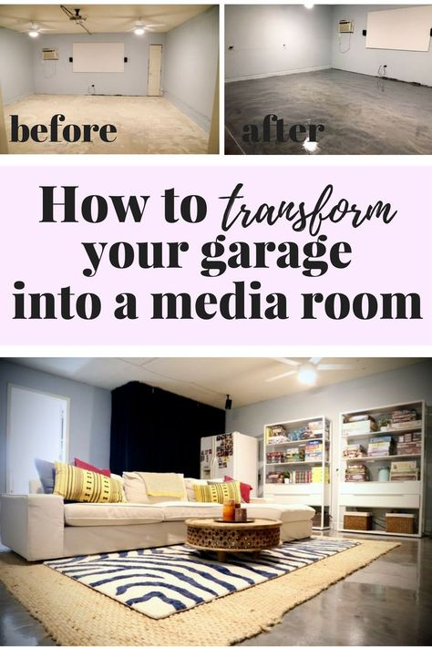 This Is Awesome You Can Turn Your Garage Into A Super Relaxing Media Room It S Not That Hard And The Fl Garage Game Rooms Media Room Garage To Living Space