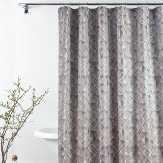 Croscill Sloan Grey And Silver Jacquard Shower Curtain Long