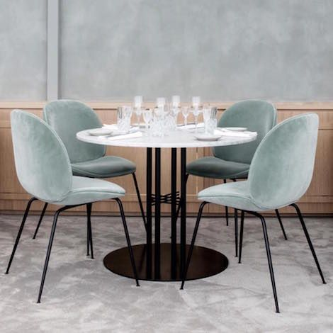 Gubi Beetle Chair Metal Legs Fully Upholstered Shell Dining