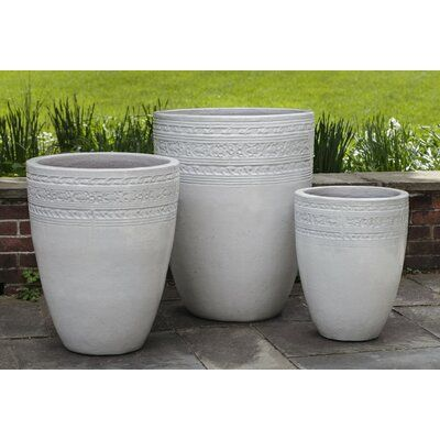 Campania International Inc Sari 3 Piece Pot Planter Set In 2021 Campania International Large Ceramic Planters Planters