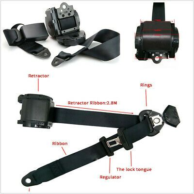 Black Retractable 2 Point Seat Belt Lap Safety Seatbelt Set For Bus Truck Car