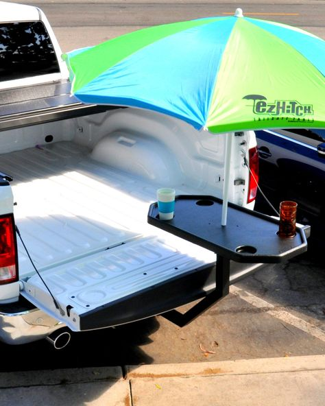 TREAT yourself to an EZ Hitch Tailgate Table - the trailer hitch table the takes less than a minute to set up and no tools are needed! Todo Camping, Truck Camping, Camping Hacks, Camping Table, Ford Ranger, Ford Trucks, Pickup Trucks, Big Trucks, Lifted Trucks