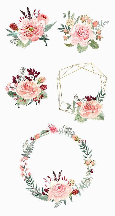 Cliparts Haute Qualite De Rose Eucalyptus Baies Fleurs Peints