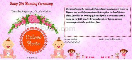 Baby Girl Naming Ceremony Naming Ceremony Invitation Invitation Card Format Invitation Card Sample