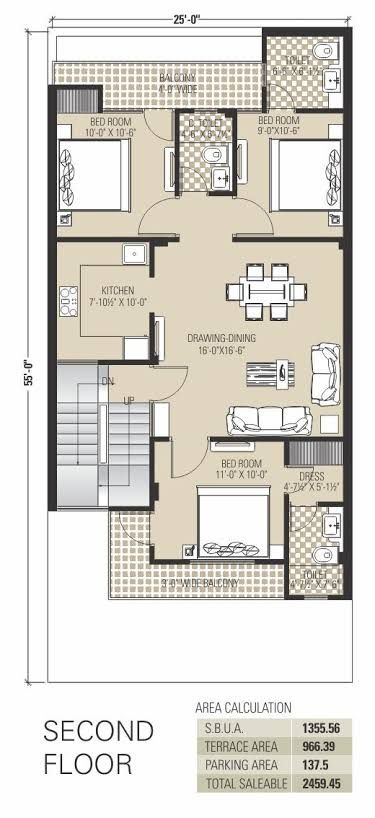 2 Bhk Floor Plans Of 25 45 Google Search 2bhk House Plan 30x40 House Plans New House Plans