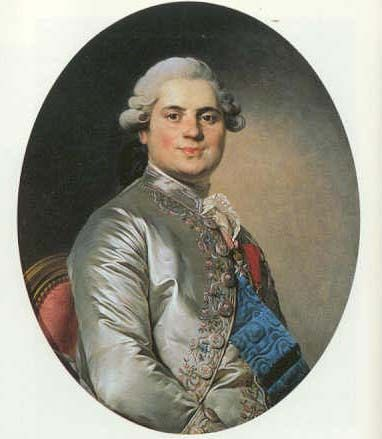 Louis Stanislas Xavier, grandson of the licentious Louis XV, younger brother of the priggish Louis XVI.  Known at court as Comte de Provence, he was an uptight, corpulent sort of man, lacking the joie de vivre of his brother, Artois.  After the murder of his brother (LOUIS XVI) and tragic death of his nephew (Louis XVII), he would become Louis XVIII. ~ LMB, Titillating Tidbits of the Life and Times of Marie Antoinette