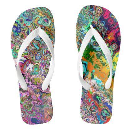 Flip Flops  Sandals  Thongs  Vintage Style  Psychedelic  Beach  Summer