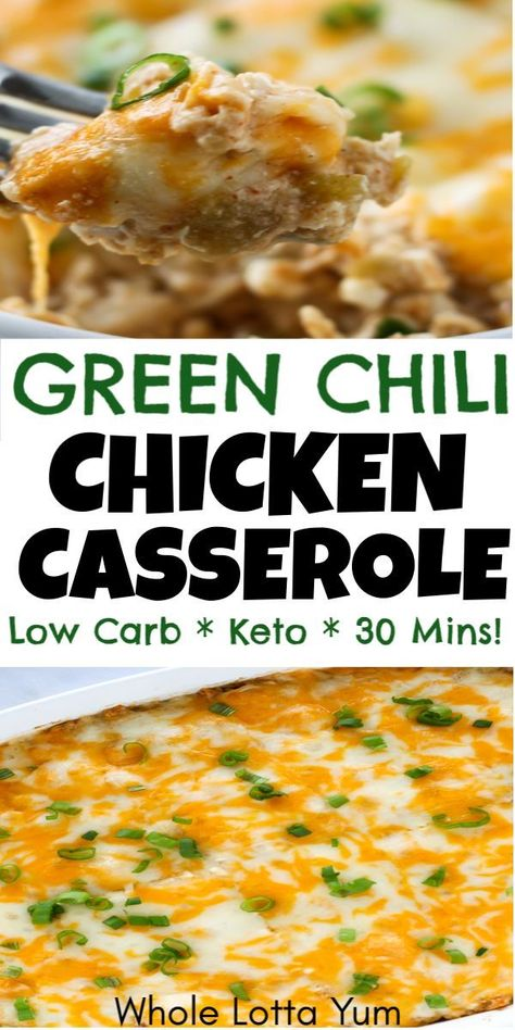 Easy Chicken Green Chili Casserole - Dinner Recipes - A low carb and keto green chili chicken casserole recipe that's so easy and healthy too! This keto casserole takes is so quick and only takes 30 minutes. You'll love the chili verde casserole flavor! Healthy Chicken Recipes, Mexican Food Recipes, Diet Recipes, Green Chili Recipes, Recipies, Easy Low Carb Recipes, Keto Chicken Thigh Recipes, Keto Chicken Soup, Shredded Chicken Recipes