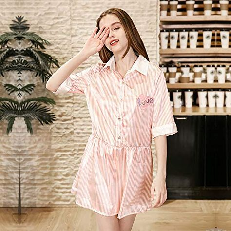 YUANZ Home Summer Girl Striped Nightdress can be Worn Outside The Sleeves  Simulation Silk Pajamas Women s Thin Shirt Home Clothes (Color   Pink fe39f0383